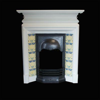 Vintage cast iron tiled fireplace