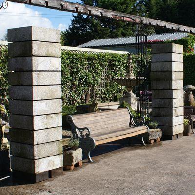 Set of 4 reclaimed/salvaged vintage granite entrance pillars
