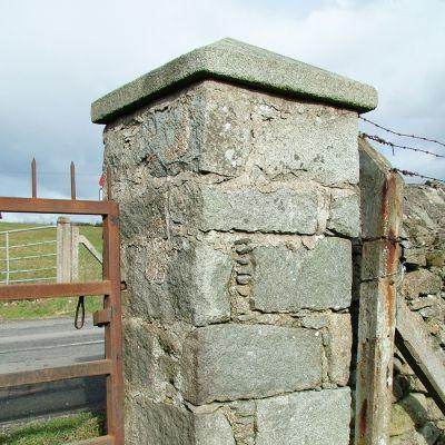 Pair of original Irish Granite pillars with caps