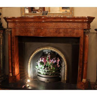 Flamed Walnut Chimneypiece