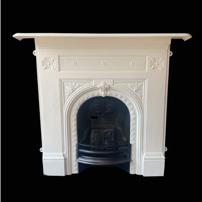 Restored late Victorian cast iron parlour fireplace