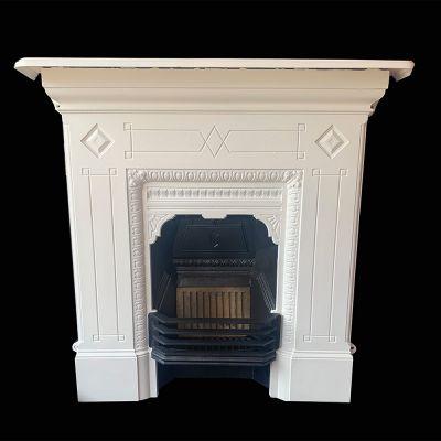Restored Edwardian cast iron parlour fireplace