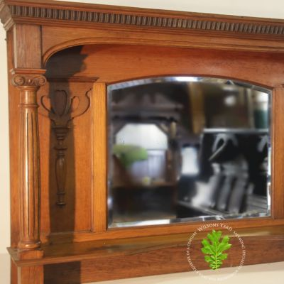 Late 19th century Oak  over mantle with mirror