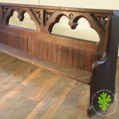 Carved Oak Pew