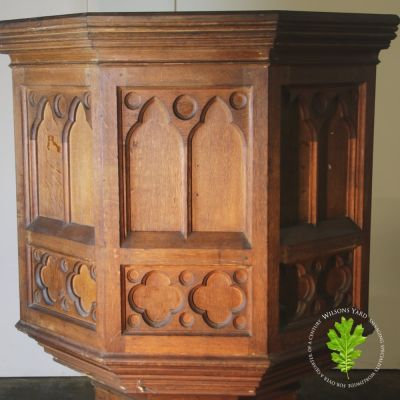 Hexagonal hand carved church pulpit