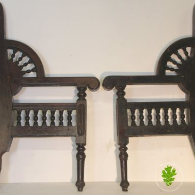 Pair of decorative wooden seat ends
