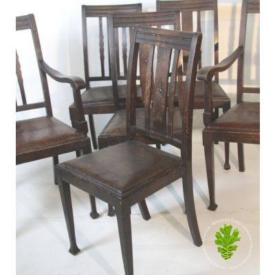 Set of 6 wooden dining chairs with leather seats