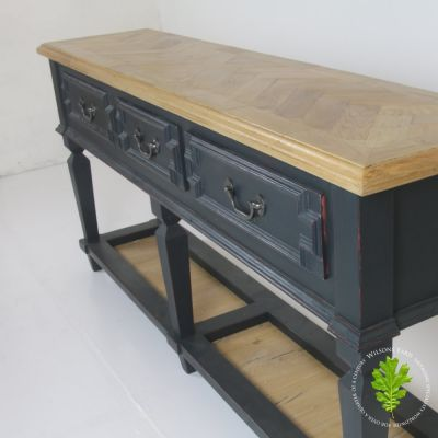 Dark blue distressed parquet topped sideboard
