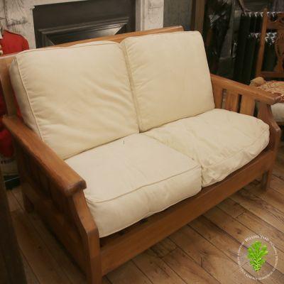 Antique black veined Teak Panama 2 seater sofa