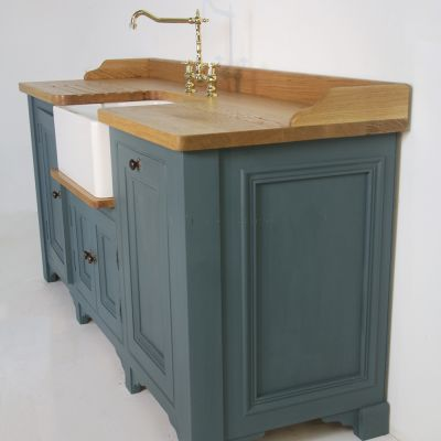 Butler sink unit with Oak top painted in Farrow & Ball