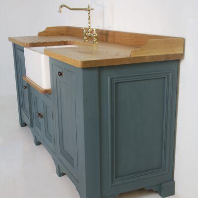 Bespoke Butler sink unit with Oak top painted in Farrow & Ball