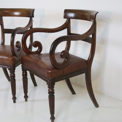 Beautiful pair of Regency scroll chairs circa 1830