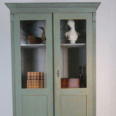Vintage French glazed 2 door cupboard