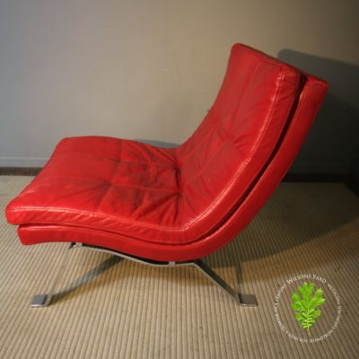 Stunning red sheep skin Italian leather chair