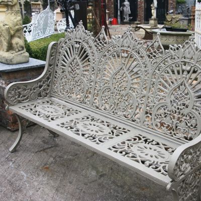 Large decorative triple arch Gothic cast iron bench