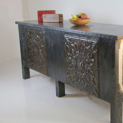 20TH century Zinc topped shop counter  / Kitchen Island