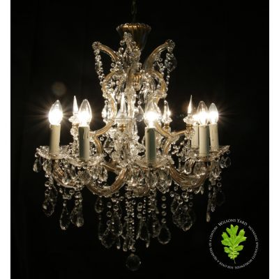 Pair of vintage 10 candle chandeliers with pins