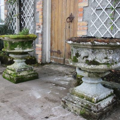 Set of 3 vintage garden planters on plinths