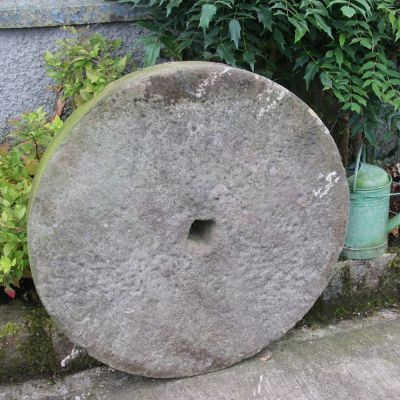 Large 19th century garden stone mill wheel