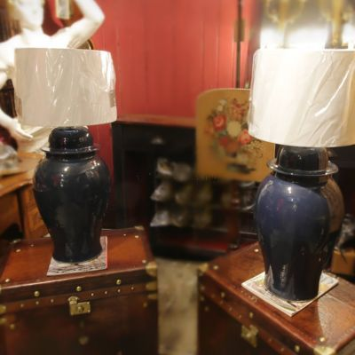 Pair of Blue ginger jar table lamps