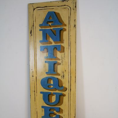 Vintage wooden painted antiques sign