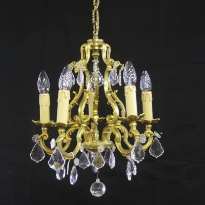 Pretty French gilded Bronze and crystal chandelier