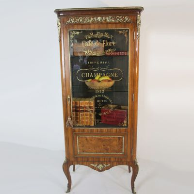 Antique French semi glased Vitrine display cabinet