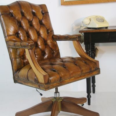 Antique Gainsborough style vintage leather office chair