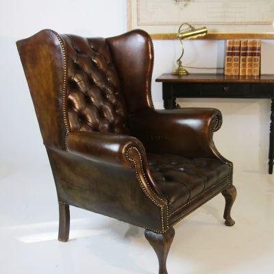 Antique Gentleman's wing back armchair