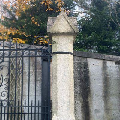 Pair of vintage stone entance gate pillars