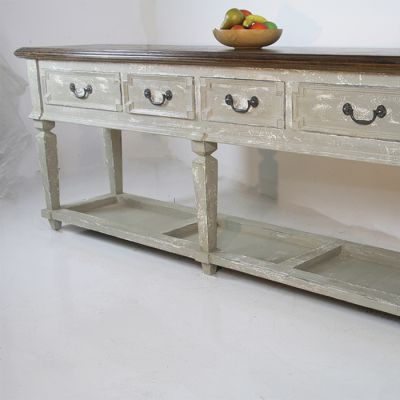 Large Bohemian Style Side Server / Pot Board / Sideboard With Reclaimed Parquet Top