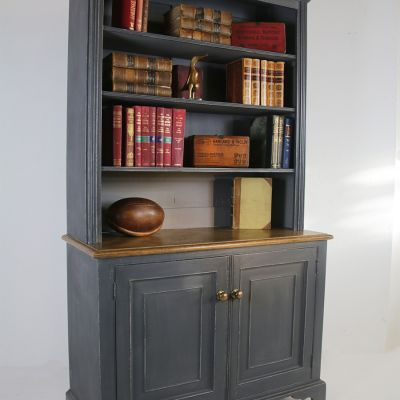 Beautiful bookcase with a parquet topped counter