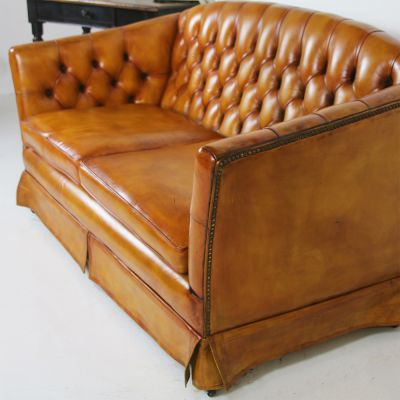 Beautiful tan button back leather settee