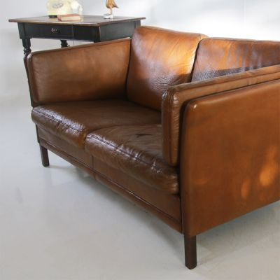 Nicely restored vintage Scandinavian 2 seater leather sofa