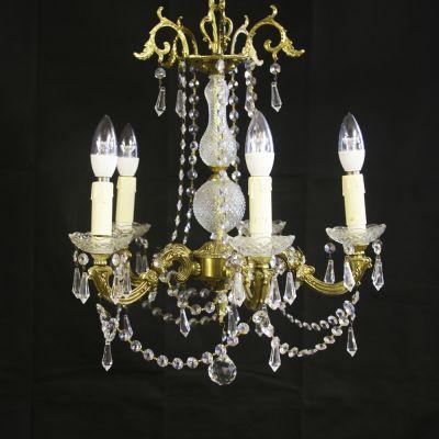 Pretty Bronze & Crystal Chandelier