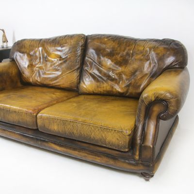 Tan Retro Settee with Wooden Frame