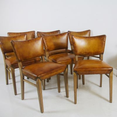 Set of Mid Century Tan Leather Dining Chairs