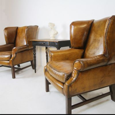 Beautiful pair of Vintage restored wing back chairs