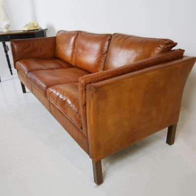 Vintage 3 seater Scandinavian tan sofa sold ref inv no: 106679