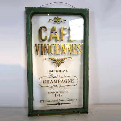 "Reclaimed French cafe sign "" Cafe Vincenness"""