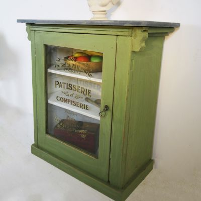 Antique slate topped semi glazed sign written cabinet.