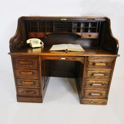 Edwardian Oak roll top double pedestal desk