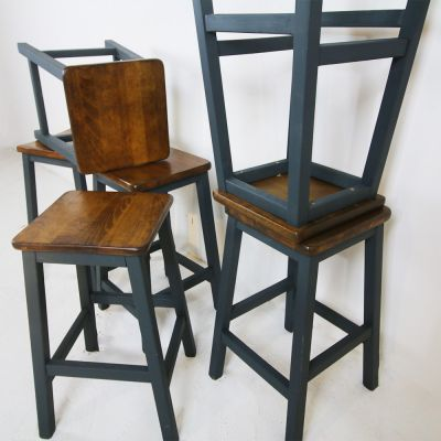 Short vintage stools with painted base