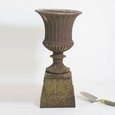 Petite antique cast iron Urn on plinth