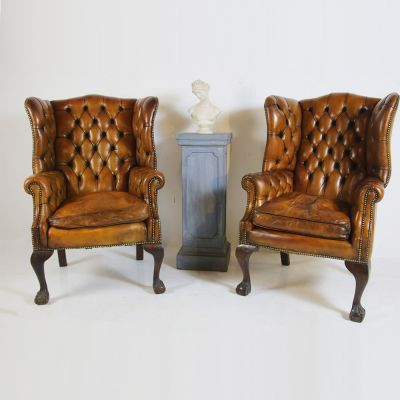 Beautiful pair of buttoned back wing back chairs