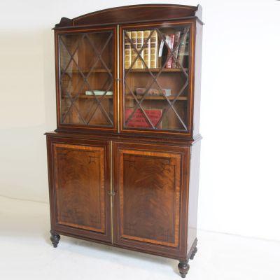 Splendid glazed Georgian Mahogany bookcase with Brass embellishments ( circa 1780 )