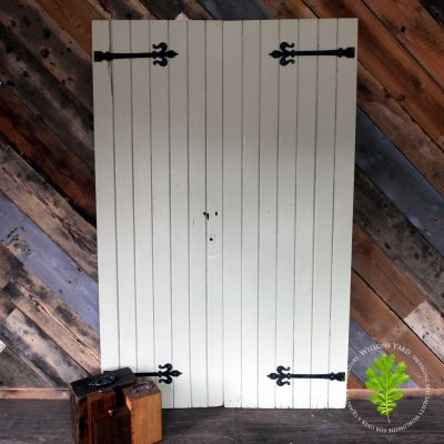 Sheeted plank pair of doors hand painted