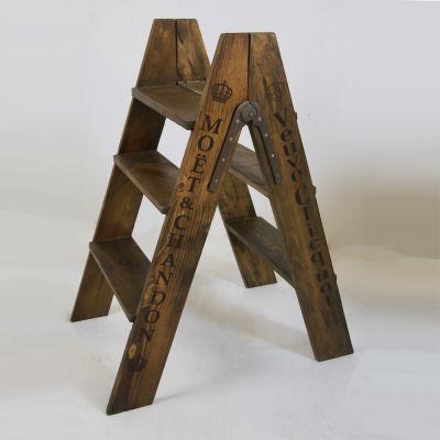 Decorative vintage style wooden Champagne ladder steps