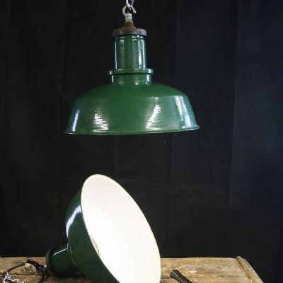 British made green enamel industrial lights