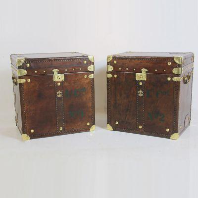 Lovely pair matching travel trunks